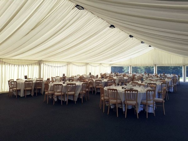 12m x 24m Clearspan with ivory linings