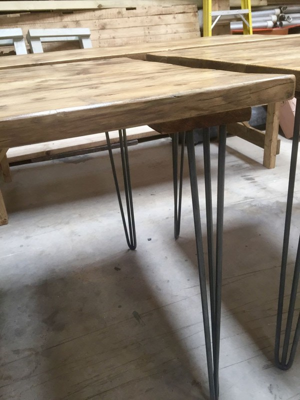 Selling Square Reclaimed Industrial Style Tables