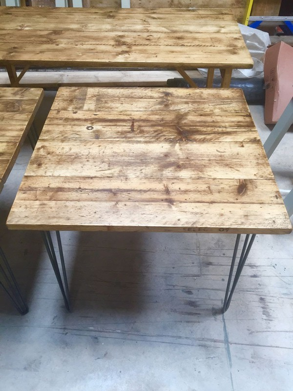 Square Reclaimed Industrial Style Tables  for sale