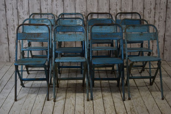 Vintage Industrial Metal Folding Chairs