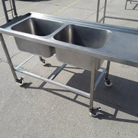 Deep double catering sink on wheels