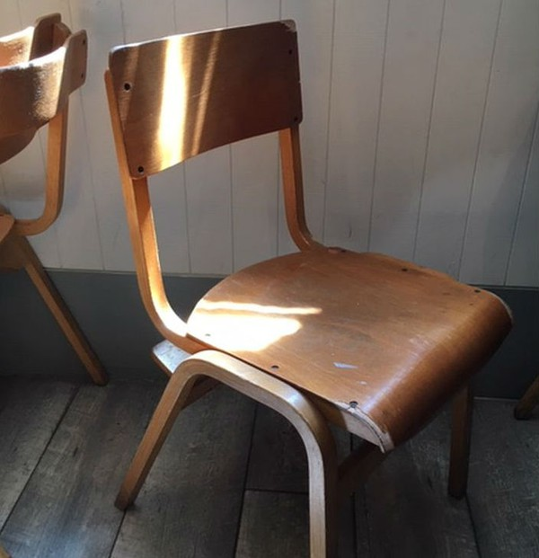 Vintage school chairs cafe