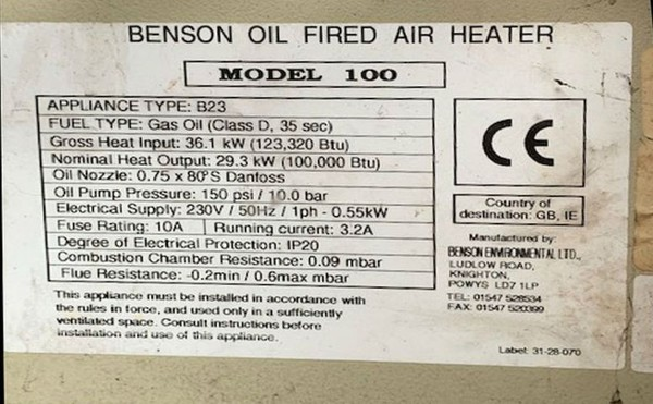 Benson oil fired air heater - Model 100