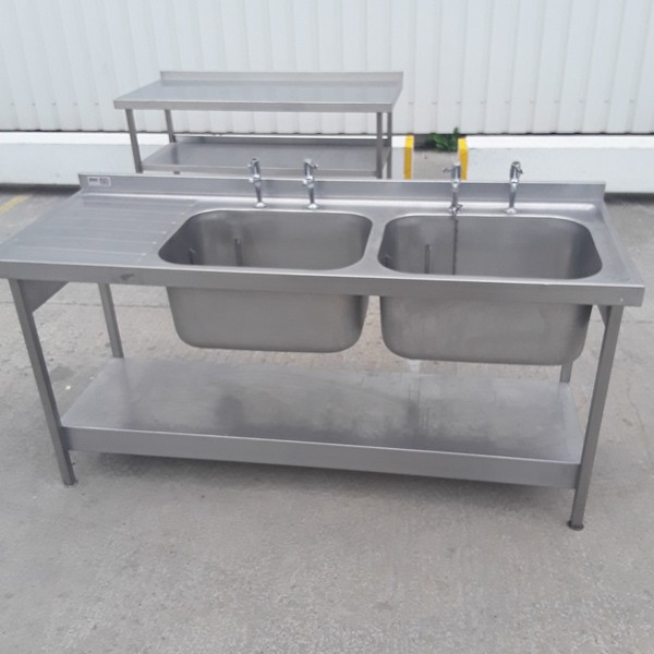 Used Pland Stainless Steel Double Sink (9186)