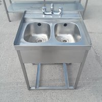 Used Stainless Steel Double Bar Sink (9197)