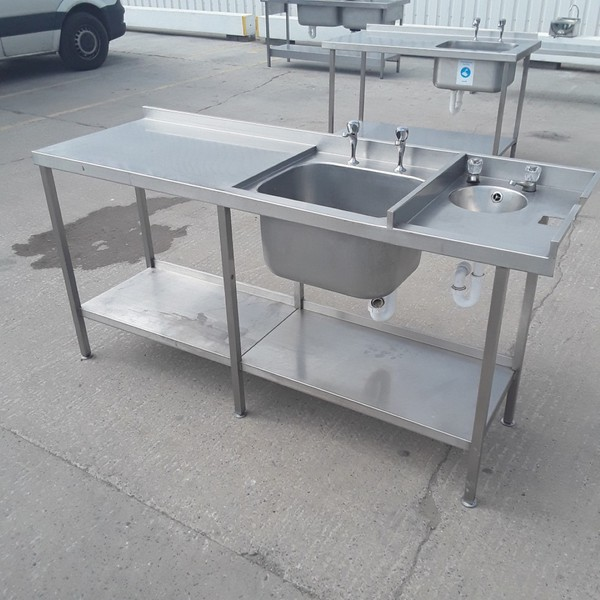 Used Stainless Steel Double Sink (9196)