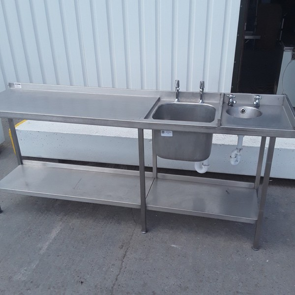 Used   Stainless Steel Double Sink Table	(9226)