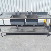 Used  Stainless Steel Double Sink (9245)