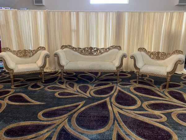 Gold wedding chairs with side chairs