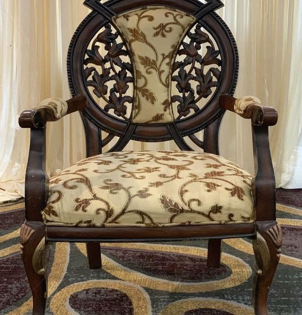 Dark carved wedding chair