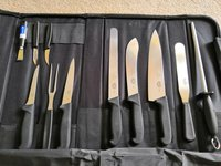 8 Victorinox pieces with Russums knife sharpener, palette knife and Deglon zester included + carry case