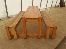 5 No. 195cm long x 54cm wide solid wood tables each with 2 benches