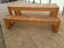 solid wood tables and 2 benches