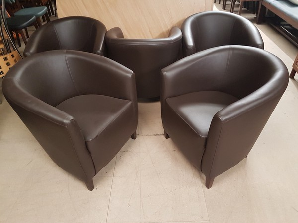 5 New real leather tub chairs