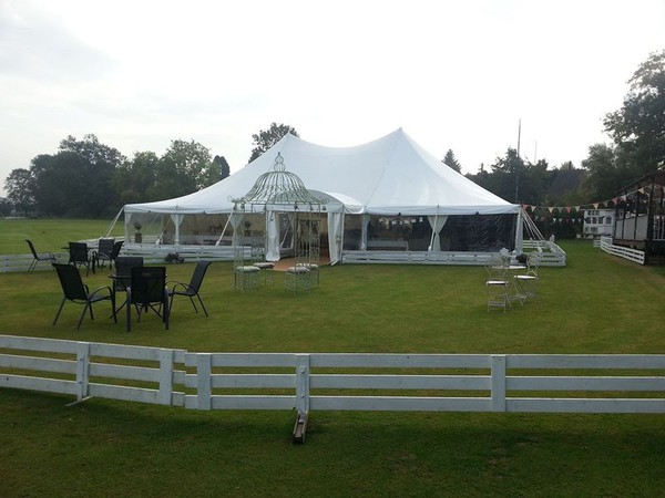 White wedding marquee with windows