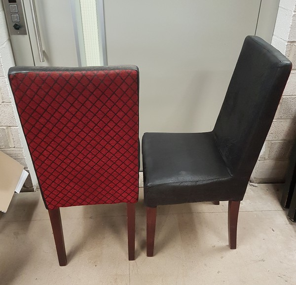 red and black  dining chairs