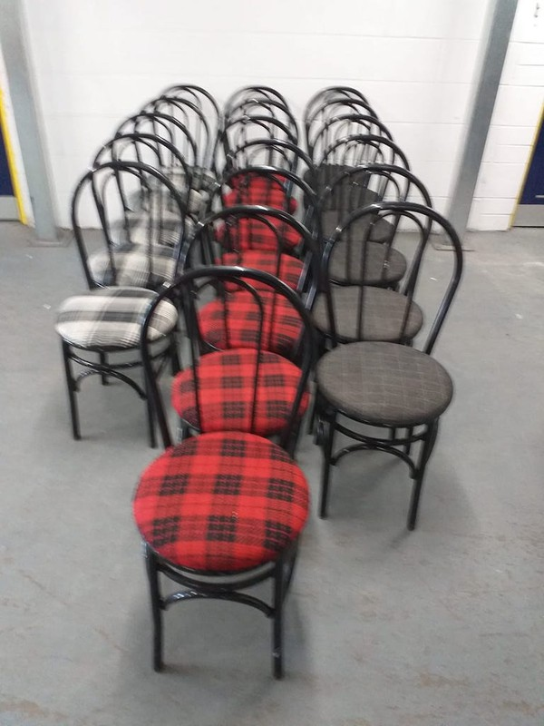 18 Black metal frame Hoopback chairs