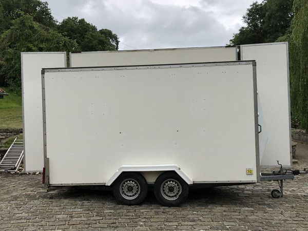 White exhibition trailer for sale