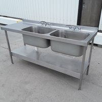 Used Stainless Steel Double Sink (9320)