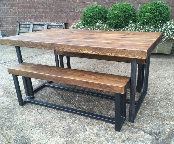 Industrial Style Extra Chunky Bench Diner