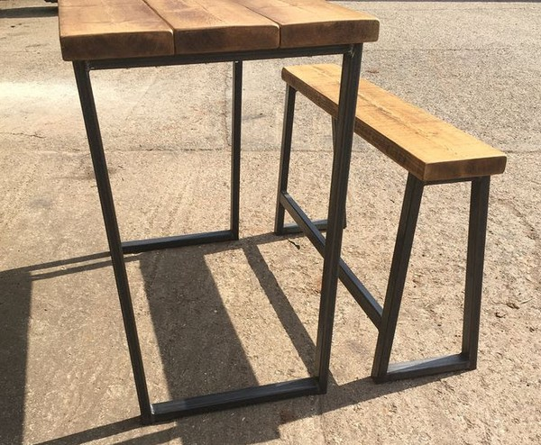 Hand Made Poseur Tables With Trapezium Legs