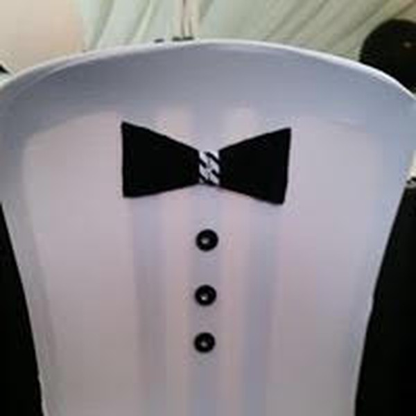 White chair cover with bow tie