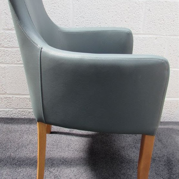 Six Faux Leather Grey Desk Chair with Arms