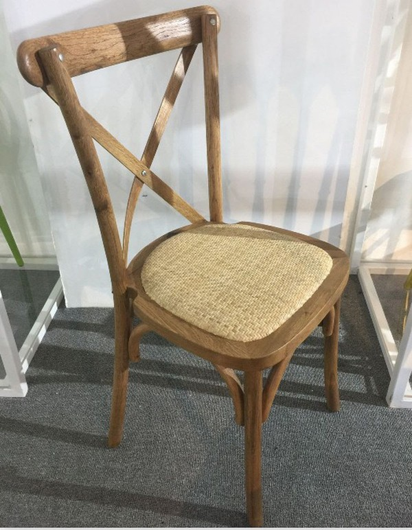 Rustic OAK Cross Back Chairs with Removable Pad