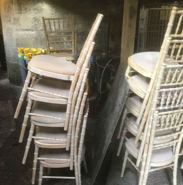 Chivari Limewash banqueting chairs for sale