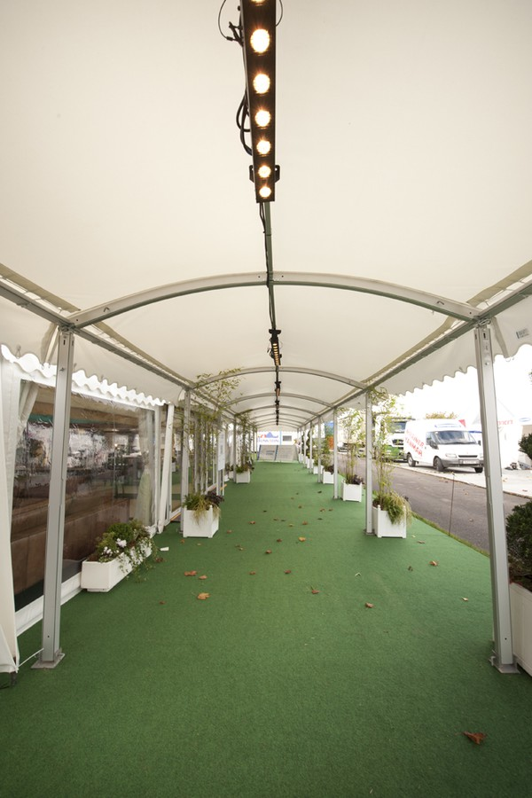 Walkway curved roof