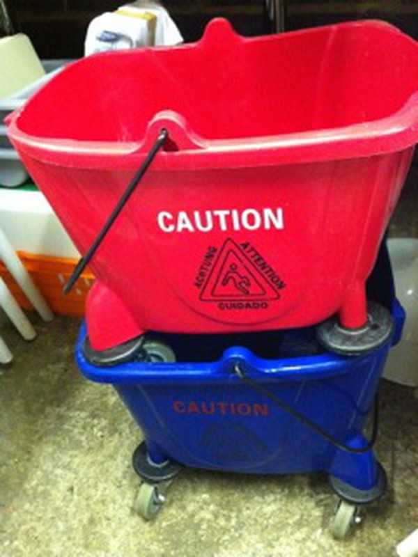 red blue cleaning buckets