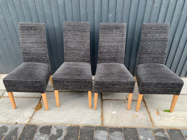 High back gray dining chairs for sale