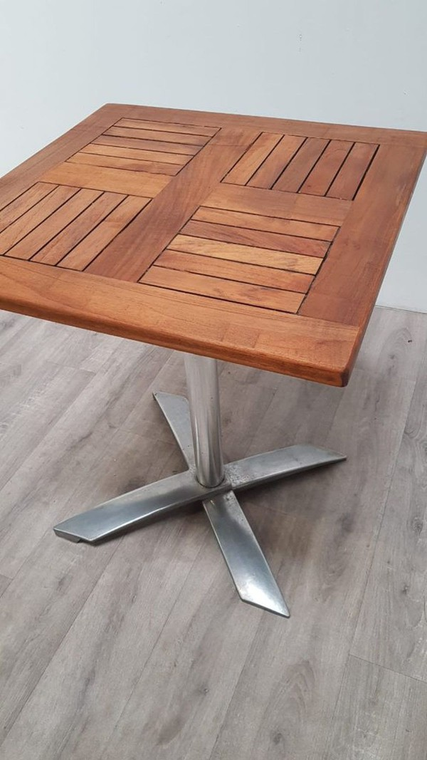 600mm Teak Flip Top Table with Heavy Duty Aluminium Base