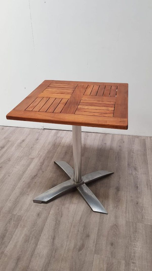 Stunning 600mm Teak Flip Top Table with Heavy Duty Aluminium Base