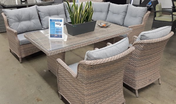Winchester Rattan Dining Set in Sand