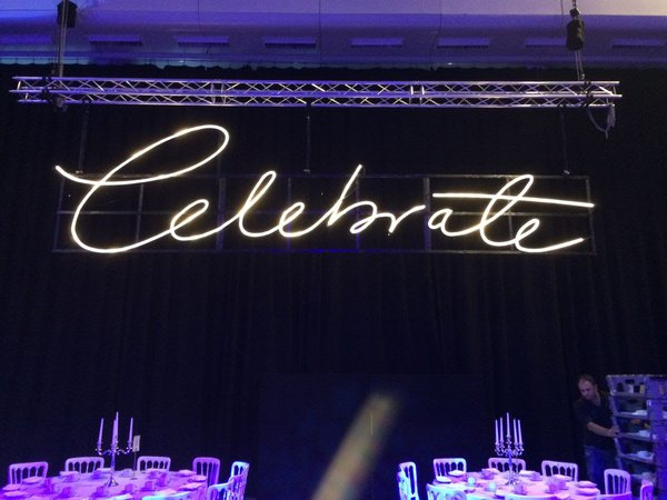 Illuminated Celebrate sign
