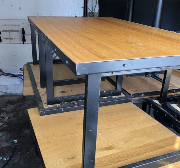 4 Light oak finish coffee tables