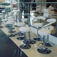 White Stools & Glass Topped Poseur Tables