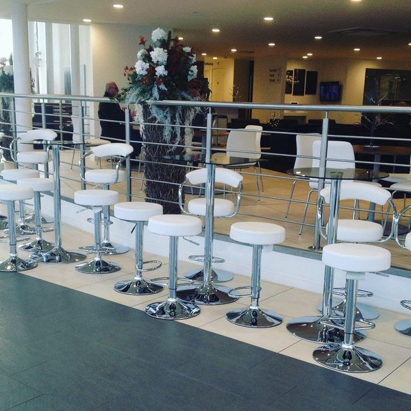 White Stools & Glass Topped Poseur Tables for Events