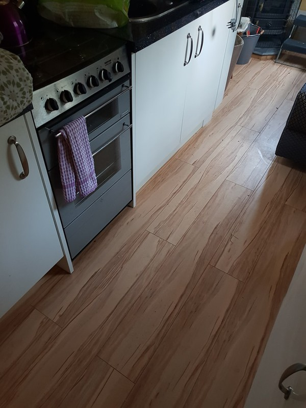 Kitchen Flooring inside narrowboat