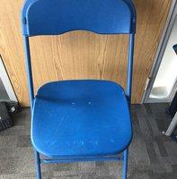 blue folding chair