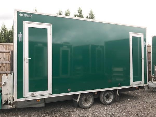 green luxury toilet trailer