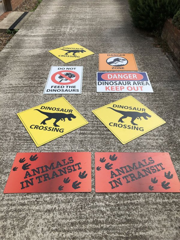 Jurassic park signs props