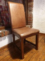 Oak chair with leather seat and back