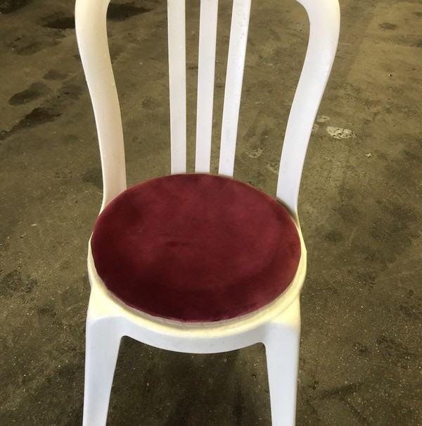 250x White Bistro Chair With Red Seat Pad - Sunderland