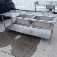 Used Stainless Steel Double Sink (9822)