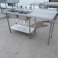 Used Stainless Steel Double Sink (9825)