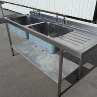 Used Stainless Steel Double Sink (9860)