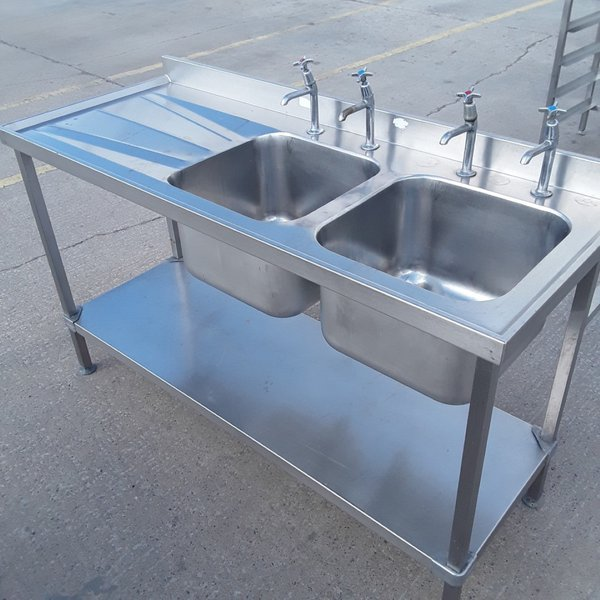 Used Stainless Steel Double Sink (9855)