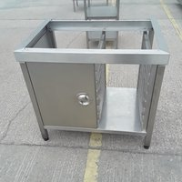 Oven stand with rack and cupboard
